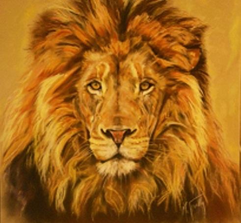 lion 80×80 pastel card