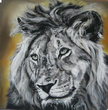portrait lion 45×45 pastel card