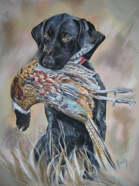 chien au faisan pastel card 70×90