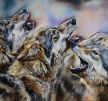la-meute-de-loups-pastel-100x70