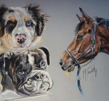 animaux de Charline pastel 30x40