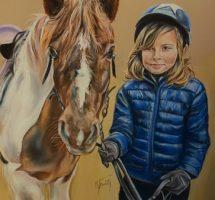 Fille de Lydie et son poney pastel 50x40