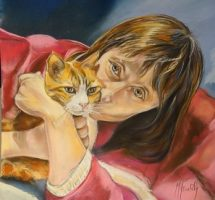 PATRICIA ET SON CHAT 30X30