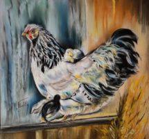 poules et poussins 35x35 pastel