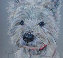 WENDY chien de Virginie Westie 24x30
