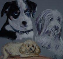 3 chiens francine josi 30x30