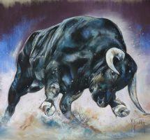 Le taureau bleu - pastel 80x60 - oct2017