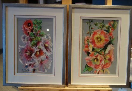 Roses tremieres cadres 32×42