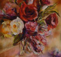bouquet de fleurs pastel 60x60