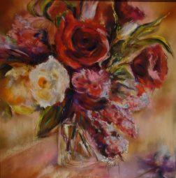 bouquet de fleurs pastel 60×60