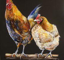 toile poule et coq 40x50 acryl janv19