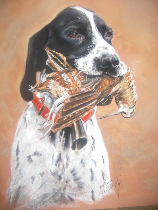 chien de chasse à la becasse pastel 30×40 Marylise Froehly