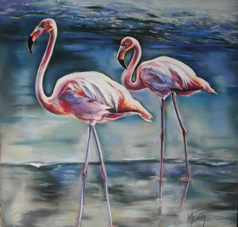 flamants roses pastel card 80 80 marylise froehly artiste peintre animalier. Black Bedroom Furniture Sets. Home Design Ideas