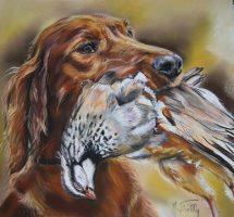 chien de chasse pastel mat 45x45